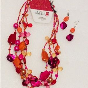 Charming Charlie Necklace Earrings Set Orange Pink